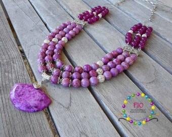 Pink Necklace Long necklace multistrands necklace Statement Necklace BIB necklace Jasper necklace Gemstone Necklace Beaded Necklace