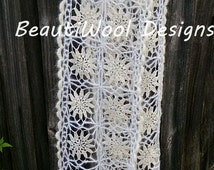 Bridal Veil Scarf Handmade Crocheted Bridal Accessories by BeautiWool Designs. Free Shipping.