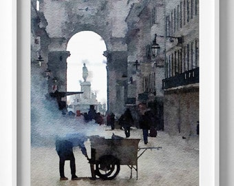 Lisbon Print,Chestnut Vendor,Painting,Art,Home Deccor,Wall Hanging.Art and Collectibles.Pic no 61