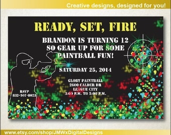 Paintball birthday invitation - paintball party - paintball invitation - birthday invitation