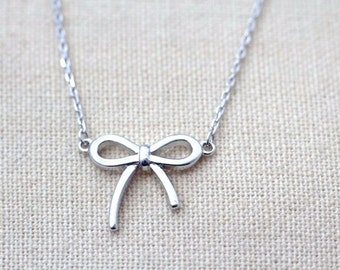 Sterling Silver Bow Necklace, Petite Silver Necklace, small bow necklace JEW004082