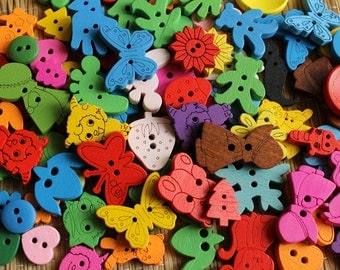 10 pcs - Wooden buttons of different shapes