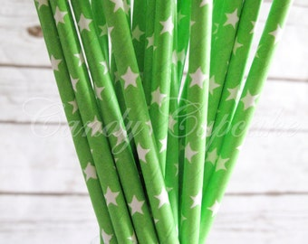 GREEN WHITE STARS 25 Paper Straws Green With White Stars, Party, Wedding, Birthday, Cake Pop Paper Straws