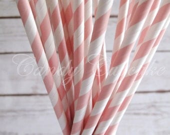 BABY PINK STRIPES, 25 Paper Straws With Baby Pink & White Stripes, Baby Shower, Wedding, Birthday, Vintage Paper Straw
