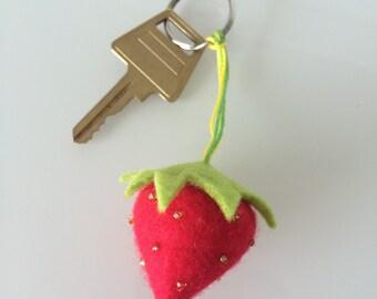 Handmade strawberry keyring/keychain made from felt