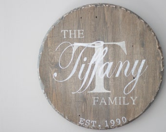 Personalized, Monogram Wood Family Sign, round wood sign