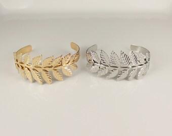 Laurel leaf branch cuff bracelet metal bangle Silver leaves greek toga goddess