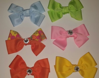 Pack/Lot of 6 Hair Bow Summer Hair Bow Spring Colors Girls Hair Bows