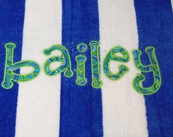 Monogram Towel, Personalized Towel, Monogrammed Towel, Spring Break Towel,  Graduation Gift, Birthday Gift, Bridesmaid Gift, Beach Vacation