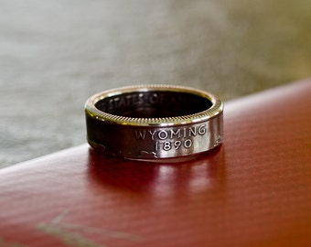 Coin Ring US Statehood Quarter - Wyoming, Size 8, Clad