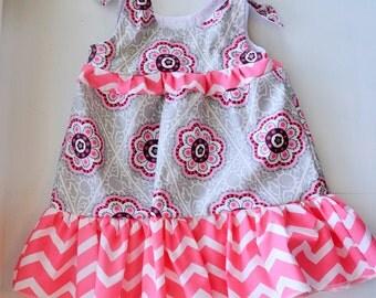 Pink and Gray Floral Tie-Shoulder Dress