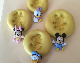 Disney Babies Mickey, Minnie, Donald, Daisy Silicone Mold for Fondant, Chocolate Soap Resin Clay Food Safe