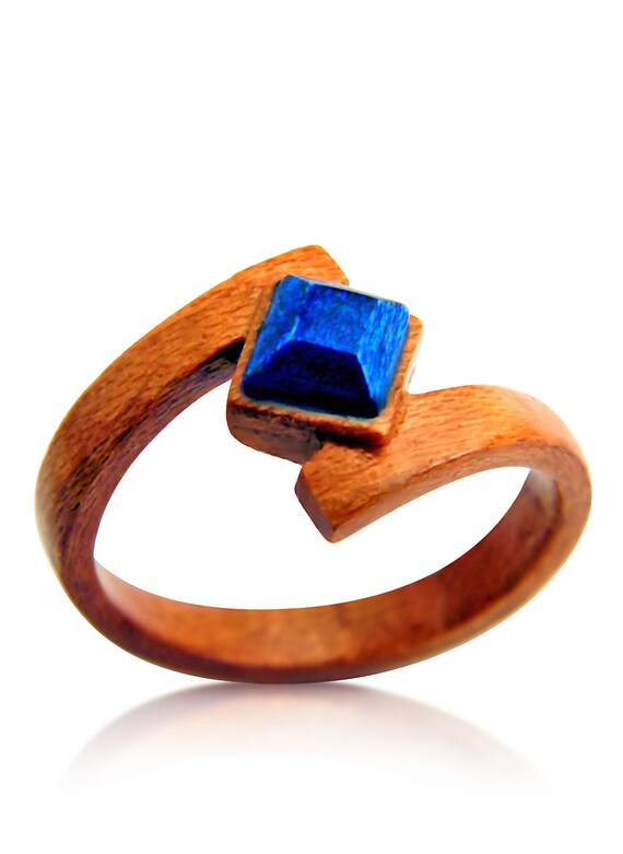 Unique Hand Carved Cherry Ring Wedding Boho Eco Ring