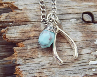 Wishbone and Turquoise Necklace