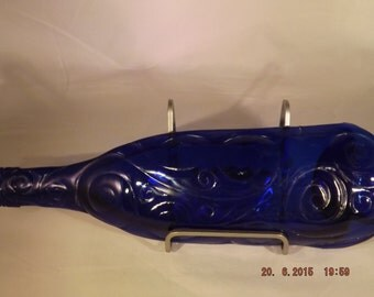 Blue Pressed Glass Wine Bottle, fused glass tray