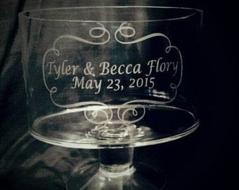 Custom Personalized Wedding Anniversary Dessert Dish, Glass Trifle Bowl