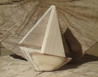 Handmade Sailing Boat*Pebbles* Wooden Ship Ornament*Nautical Gifts*Seashore*Beach*