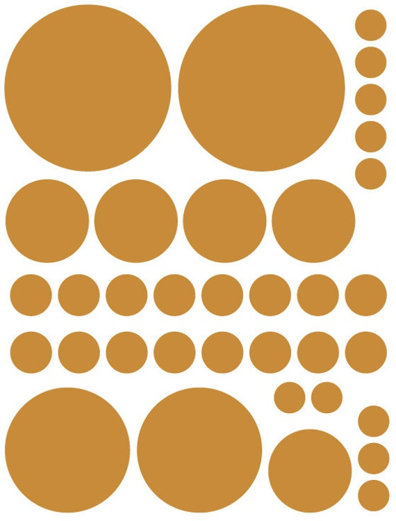 70 Caramel Tan Beige Vinyl Polka Dots Bedroom Wall Decals Stickers Teen Kids Baby Nursery Dorm Room Removable Custom Made Easy to Install