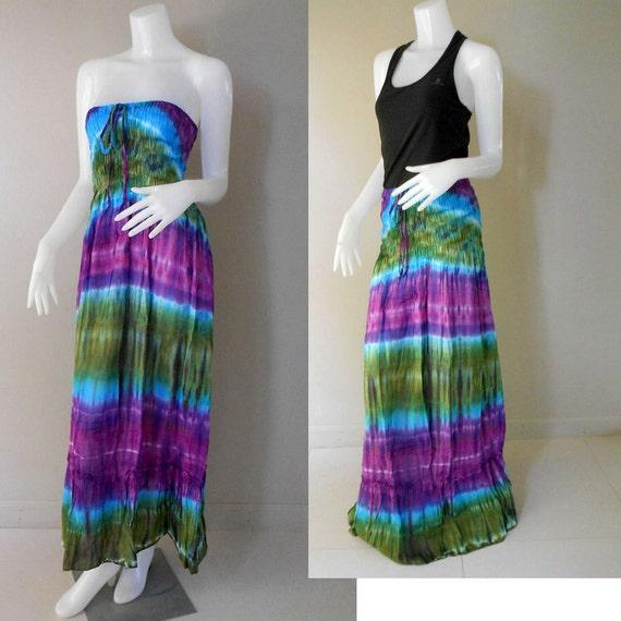Colorful Tie Dye Smocked Boho Beach Sun Summer Maxi Dress -Long Skirt TD 404