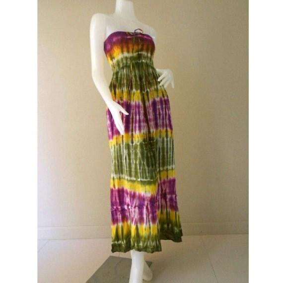 Tropical Hippie Sexy Tie Dye Cotton Summer Smock Halter Dress Casual Summer Sundress Long Smock Skirt  S-L (433)