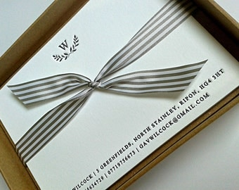 Personalised Formal Initial Letterpress Notecards -  boxed set of 25 supplied with envelopes