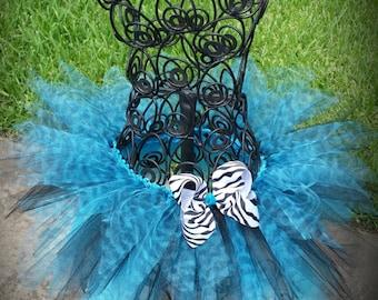 Turquoise Zebra Pixie Tutu size 2T ;  50% off
