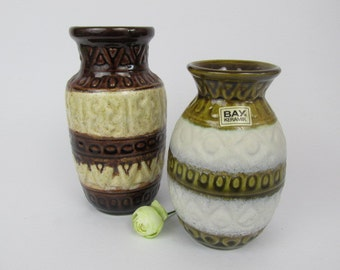 Vintage ceramic set of two vases by Bay / white, brown / Model 92 14 and 92 17 | West German Pottery | 60s