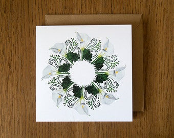 Calla Lilies. Square blank greetings card.