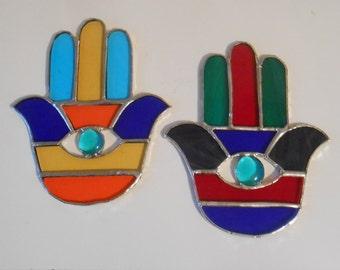 Stained Glass Hamsa Hand Suncatchers