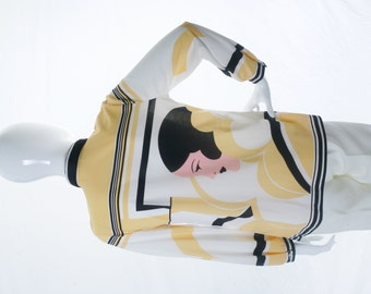 The Pampered Witch Vintage Graphic Art Blouse Black Yellow White