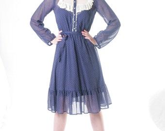 FREE US SHIPPING Vintage Sheer Cotton Micro Polka Dot Prairie Dress