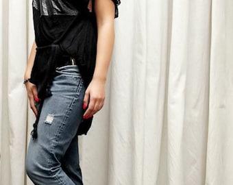 Tunic/black tunic/tunic with leather/evening tunic/party tunic