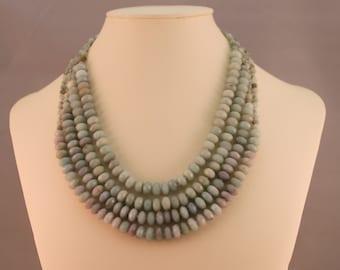 Amazonite Multi-Strand Beaded Statement Necklace