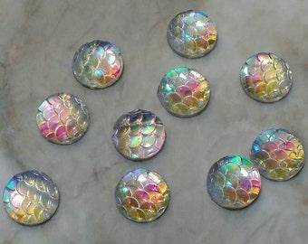 Ab clear 10mm resin cabochon fish-mermaid- dragon scales- 10pcs (G1:10-751)