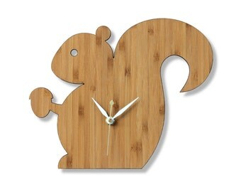 Mr. Squirrel Bamboo Wall Clock