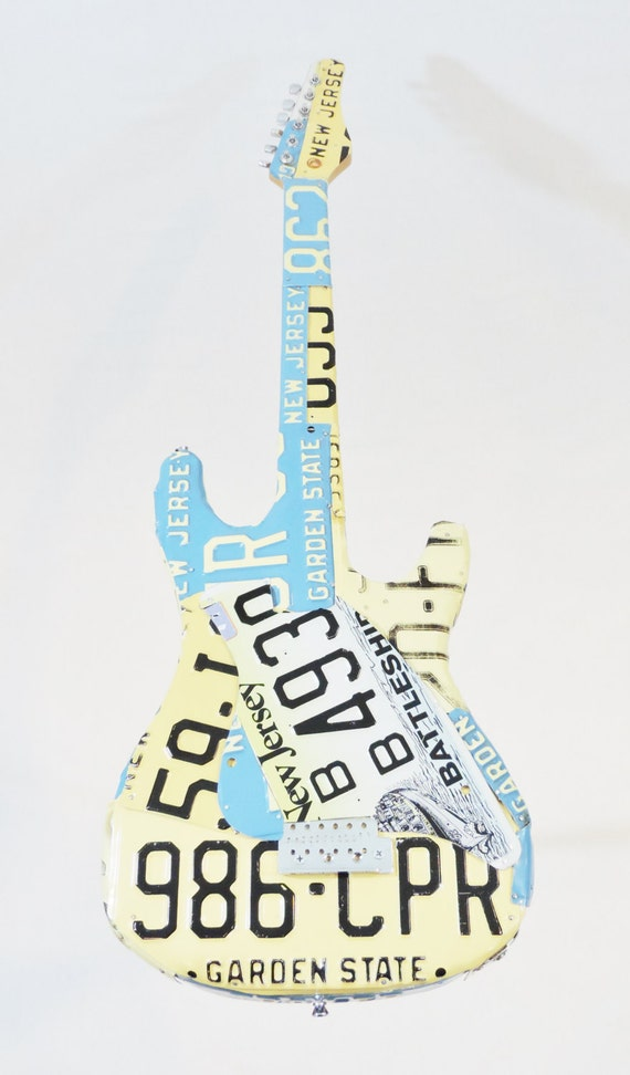 new jersey license plate covered guitar by antiquerescuellc. Black Bedroom Furniture Sets. Home Design Ideas