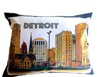 Streets of Detroit Pillow Cover with Pillow Insert