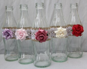Upcycled Lace and Burlap Vases