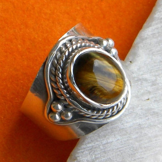 925 sterling silver tiger eye ring statement ring by
