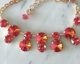 Pink Crystal Necklace, Swarovski Astral Pink Necklace, Astral Pink Crystal Necklace