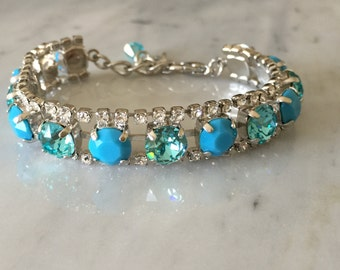 Swarovski Crystal Bracelet, Turquoise Crystal Bracelet, Swarovski Turquoise Bracelet