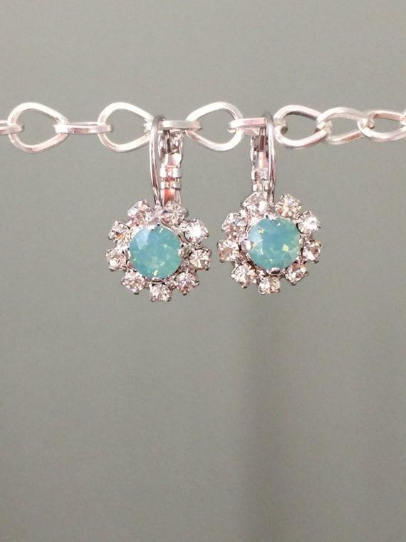 Crystal Opal Earrings, Swarovski Pacific Opal Crystal Earrings,  Swarovski Opal Crystal Earrings