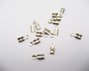 Cord Ends Iron Terminators Fold Over Cord Tips   8mm long, 2.5mm thick, hole: 2mm Jewelry Supplies Jewelry Making Small Lot 25 or 50 pieces