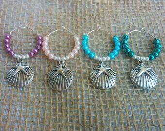 Wine Glass Charms, Starfish, Wine Charms, Beach, Seashell, Beach Wine Charms - 4 PC