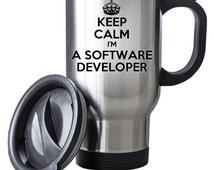 Keep Calm I'm A Software Developer Travel Mug Thermal Stainless Steel Gift Birthday Santa Christmas Themal Gift
