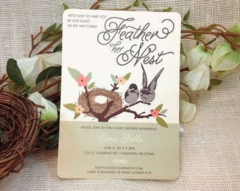 Feather her Nest Baby Shower Invitation / 5x7 Baby Shower Invitation / Gender Neutral: Get Started Deposit or DIY Payment