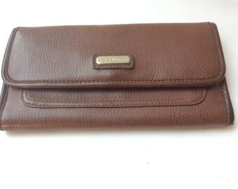 Brown Liz Claiborne Wallet - Faux Leather - Organizer Wallets - Vintage Billfold - Vintage LC Collection