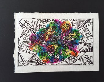Original - Colorful Abstract in Pen and Ink