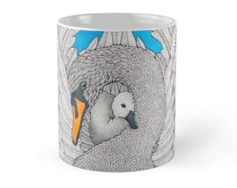Swan Art Mug, Cup By Australian Artist Belladonna Raudvee