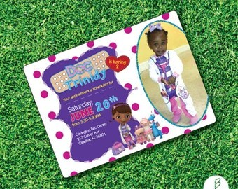 The Doc is in! Make a statement with this Doc McStuffins themed invitation for your little princess!